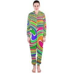 Colorful whirlpool watercolors                                                Hooded Jumpsuit (Ladies)