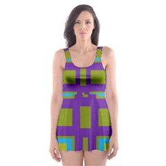 Angles and shapes                                                 Skater Dress Swimsuit