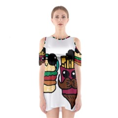 Burger And Fries Cutout Shoulder Dress