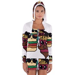 Burger And Fries Women s Long Sleeve Hooded T Shirt