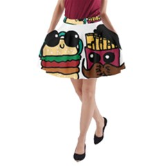Burger And Fries A-Line Pocket Skirt