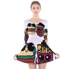 Burger And Fries Long Sleeve Velvet Skater Dress