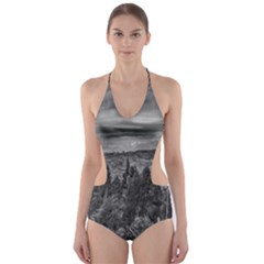 Black And White Landscape Scene Cut Out One Piece Swimsuit