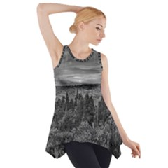 Black and White Landscape Scene Side Drop Tank Tunic