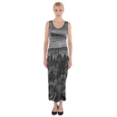 Black and White Landscape Scene Fitted Maxi Dress