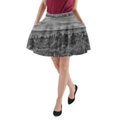 Black and White Landscape Scene A-Line Pocket Skirt