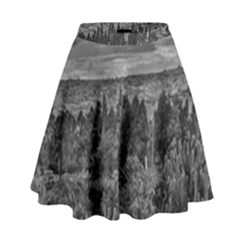 Black And White Landscape Scene High Waist Skirt