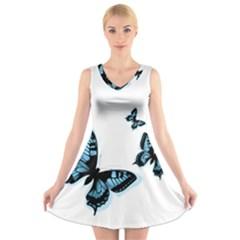 Butterflies V-Neck Sleeveless Skater Dress