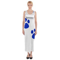 Blue Paws Fitted Maxi Dress