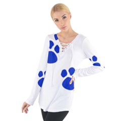 Blue Paws Women s Tie Up Tee