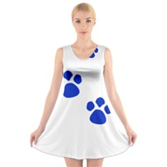 Blue Paws V Neck Sleeveless Skater Dress