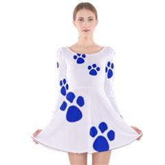 Blue Paws Long Sleeve Velvet Skater Dress