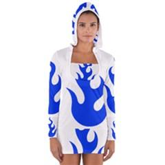 Blue Flames Women s Long Sleeve Hooded T-shirt