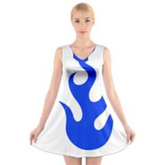 Blue Flames V Neck Sleeveless Skater Dress