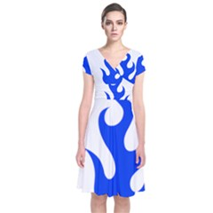 Blue Flames Wrap Dress