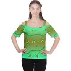 Green Tropical Flower Women s Cutout Shoulder Tee