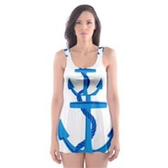 blue anchor Skater Dress Swimsuit