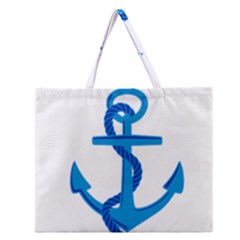 blue anchor Zipper Large Tote Bag