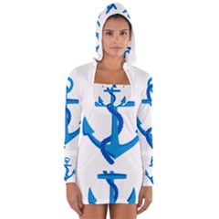 Blue Anchor Women s Long Sleeve Hooded T Shirt