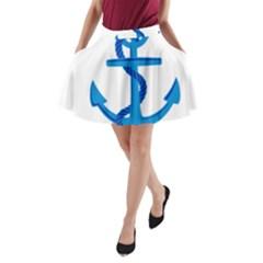 blue anchor A-Line Pocket Skirt