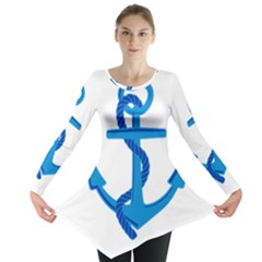 blue anchor Long Sleeve Tunic