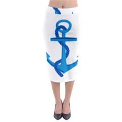Blue Anchor Midi Pencil Skirt