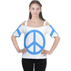 Blue Peace Women s Cutout Shoulder Tee
