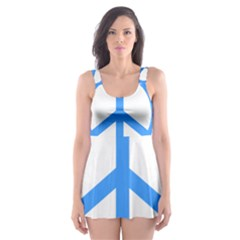 Blue Peace Skater Dress Swimsuit