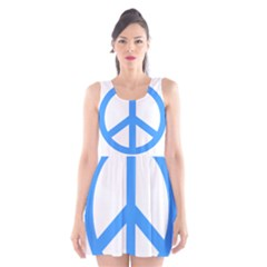 Blue Peace Scoop Neck Skater Dress