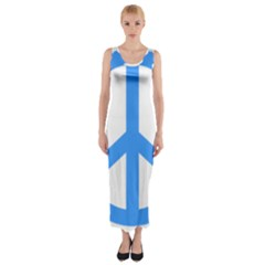 Blue Peace Fitted Maxi Dress