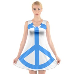 Blue Peace V Neck Sleeveless Skater Dress