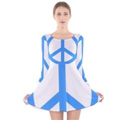 Blue Peace Long Sleeve Velvet Skater Dress