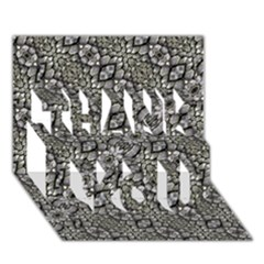 Silver Oriental Ornate  THANK YOU 3D Greeting Card (7x5)