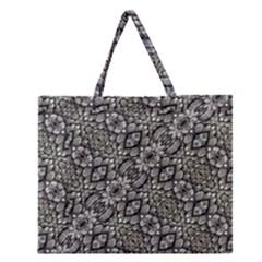 Silver Oriental Ornate  Zipper Large Tote Bag