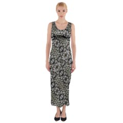 Silver Oriental Ornate Fitted Maxi Dress