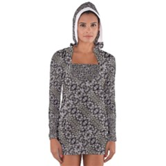 Silver Oriental Ornate Women s Long Sleeve Hooded T-shirt