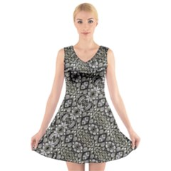 Silver Oriental Ornate V Neck Sleeveless Skater Dress
