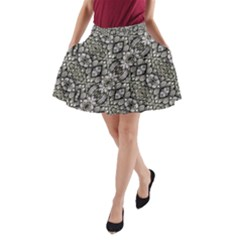 Silver Oriental Ornate A Line Pocket Skirt