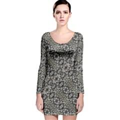 Silver Oriental Ornate Long Sleeve Velvet Bodycon Dress