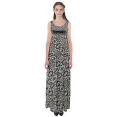 Silver Oriental Ornate Empire Waist Maxi Dress