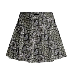 Silver Oriental Ornate Mini Flare Skirt