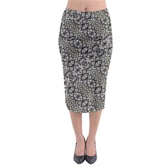 Silver Oriental Ornate Midi Pencil Skirt