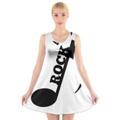 Rock V-Neck Sleeveless Skater Dress