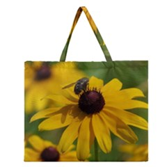Black eyed Susan Zipper Large Tote Bag