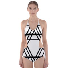 Triangles Cut Out One Piece Swimsuit