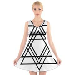 Triangles V Neck Sleeveless Skater Dress