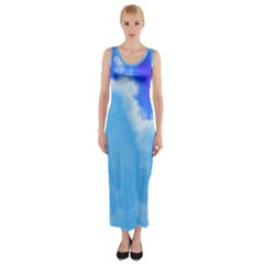 Powder Blue And Indigo Sky Pillow Fitted Maxi Dress