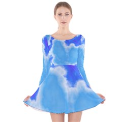 Powder Blue And Indigo Sky Pillow Long Sleeve Velvet Skater Dress