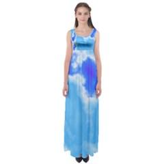 Powder Blue And Indigo Sky Pillow Empire Waist Maxi Dress