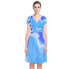 Powder Blue And Indigo Sky Pillow Wrap Dress